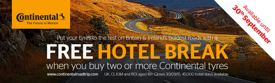 Free Hotel Break when you buy two or more Continental tyres